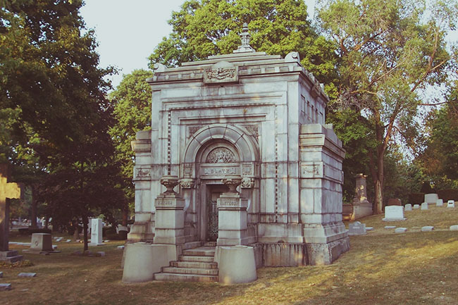 The mausoleum of Valentin Blatz, founder of the Blatz Brewing Company.