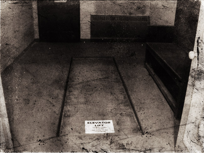 Coffin elevator lift at Forest Home Cemetery for transporting caskets to the crematorium