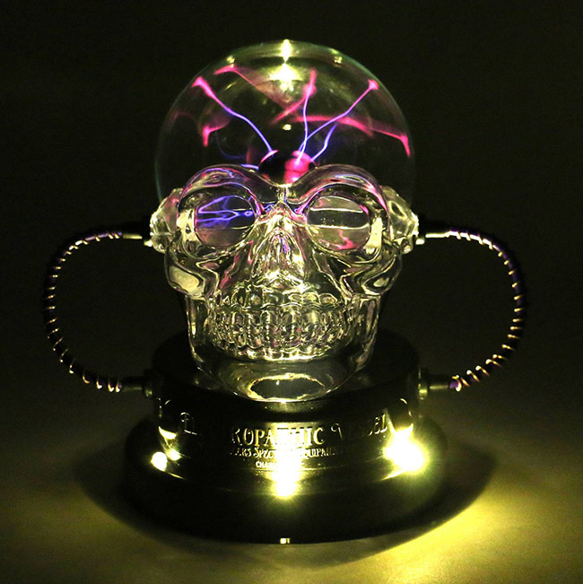 Halloween skull plasma ball decoration