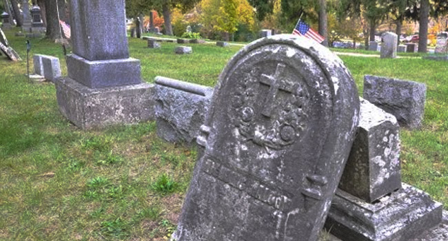 Whitewater cemetery, part of the Witch's Triangle
