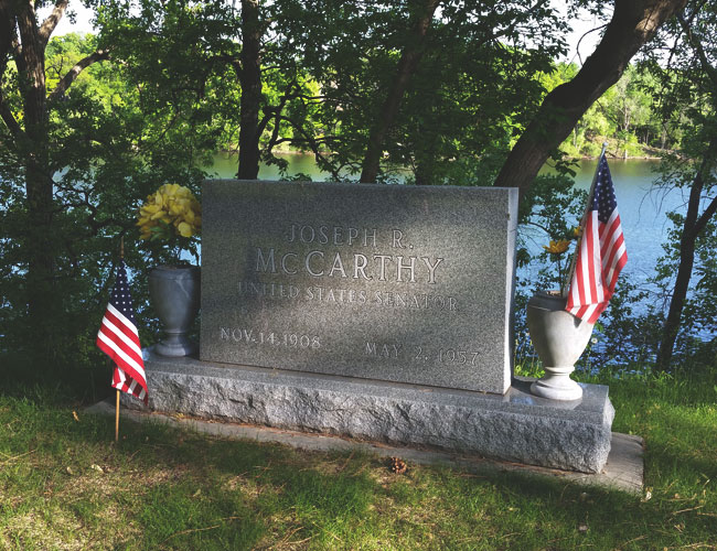 The grave of Senator Joseph McCarthy in Appleton, WI