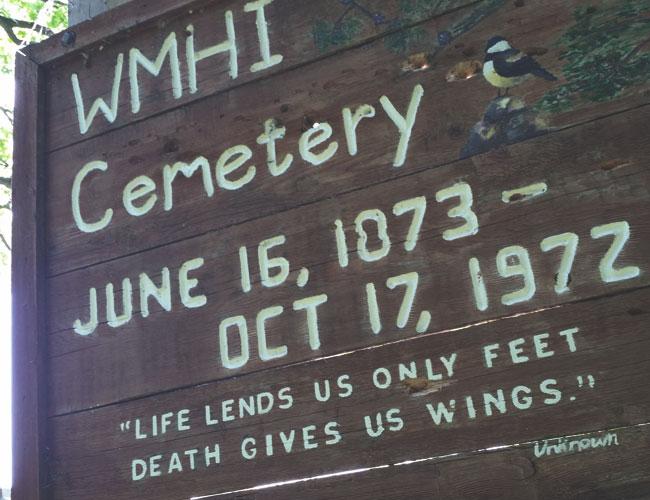 Winnebago state mental hospital cemetery sign