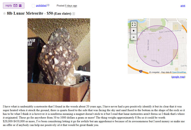 Lunar meteorite for sale in Eau Claire
